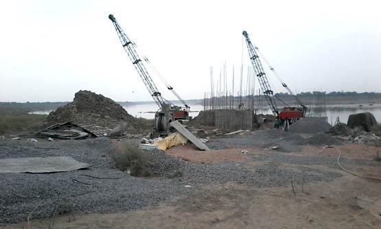The bridge under construction in Mau block of Chitrakoot