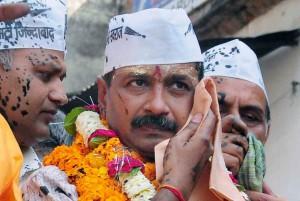 Protest against Arvind Kejriwal at Varanasi