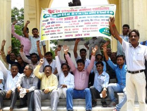 The Association of Print & Electronic Journalists protests Jagendra Singh's death in Lucknow