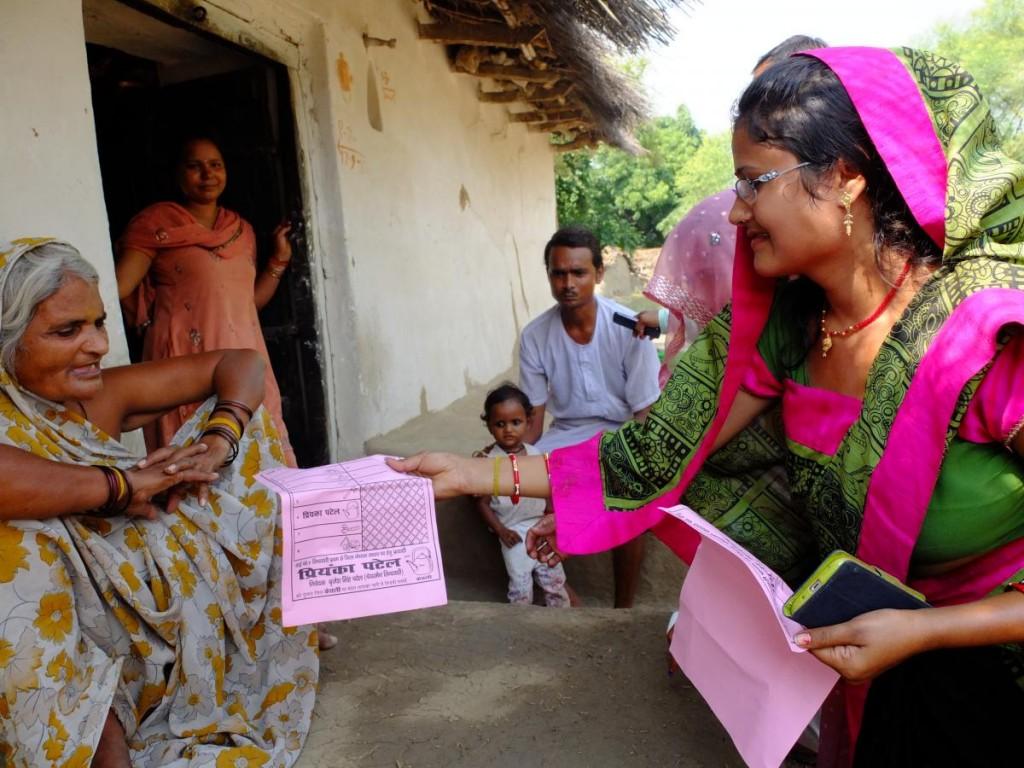 Priyanka Patel endears herself to voters in Khauda village, Banda.