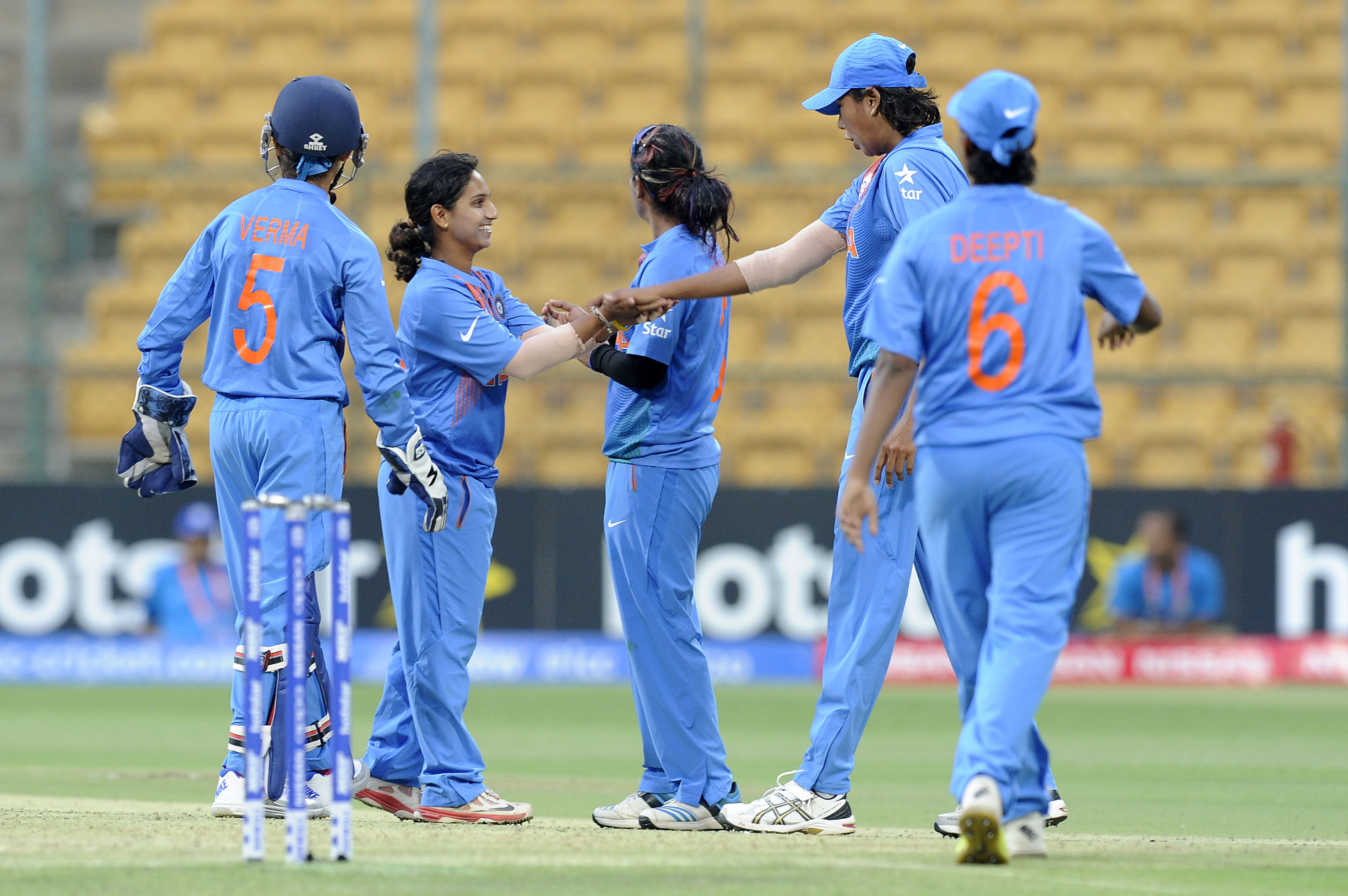 """""""Bangalore, INDIA - MARCH 15 : Anuja Patil of India celebrates the wicket of Fahima Khatun of Bangladesh during the Women's ICC World Twenty20 India 2016 match between India and Bangladesh at the Chinnaswamy stadium on March 15, 2016 in Bangalore, India. (Photo by Pal Pillai/IDI via Getty Images).."""""""