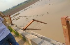 Tractor trolley railing fell under palanquin bridge due to failure of steering