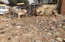 litter piles piled up in vegetable market