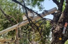 in Lalitpur Electric poles broken for a month)