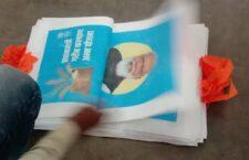 photo bag of CM yogi distributed amongst villagers